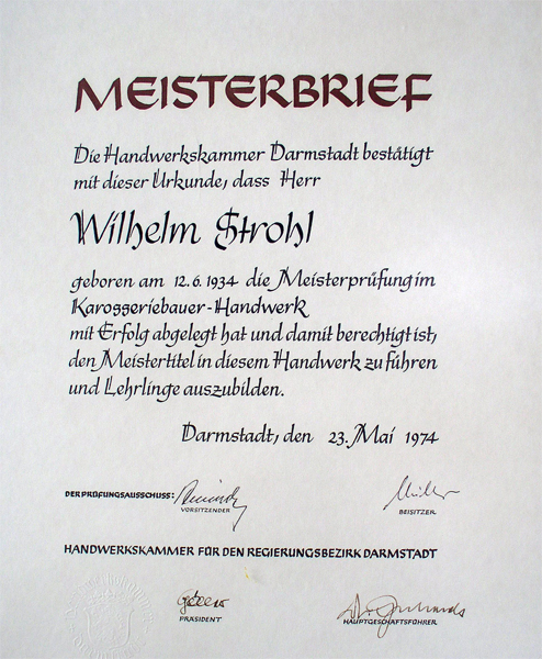 Meisterbrief Wlhelm Strohl